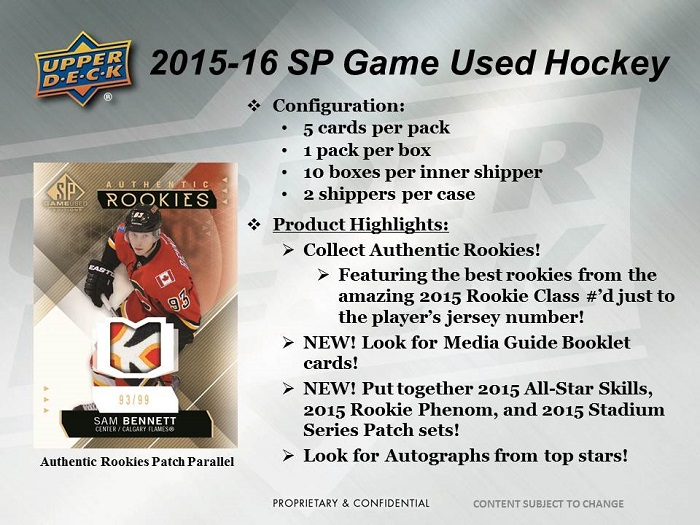 15-16 Upper Deck SP Game Used Hockey Product Image Page 1
