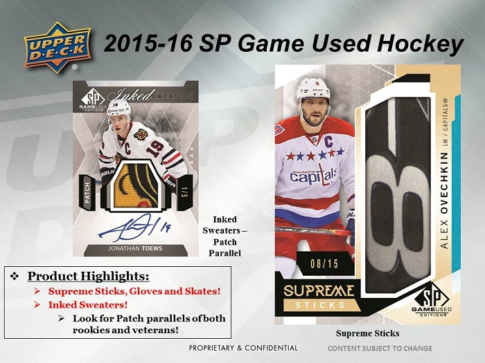 15-16 Upper Deck SP Game Used Hockey Product Image Page 3