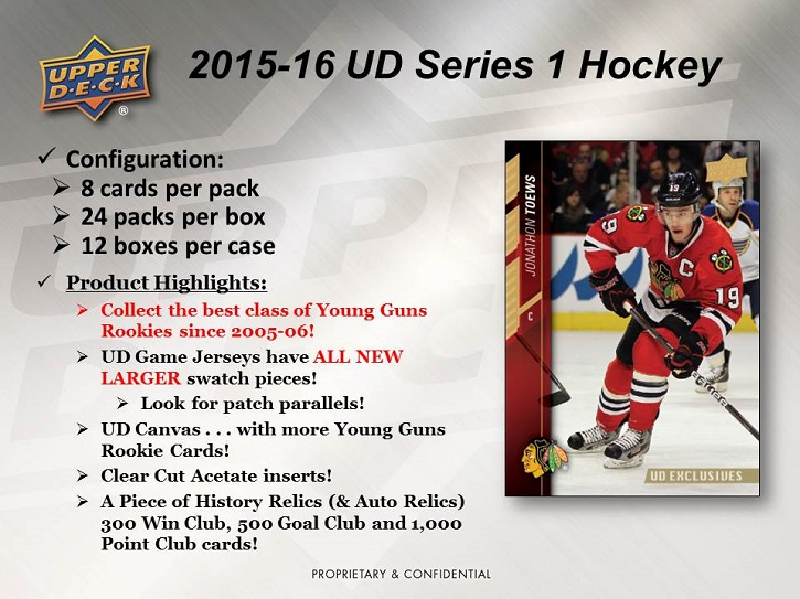 15-16 Upper Deck Series 1 Hockey Product Image Page 1
