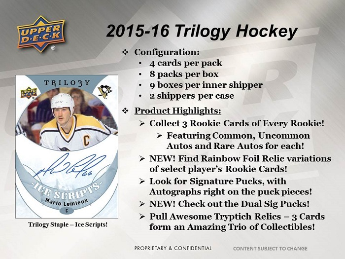 2015-15 Upper Deck Trilogy Hockey