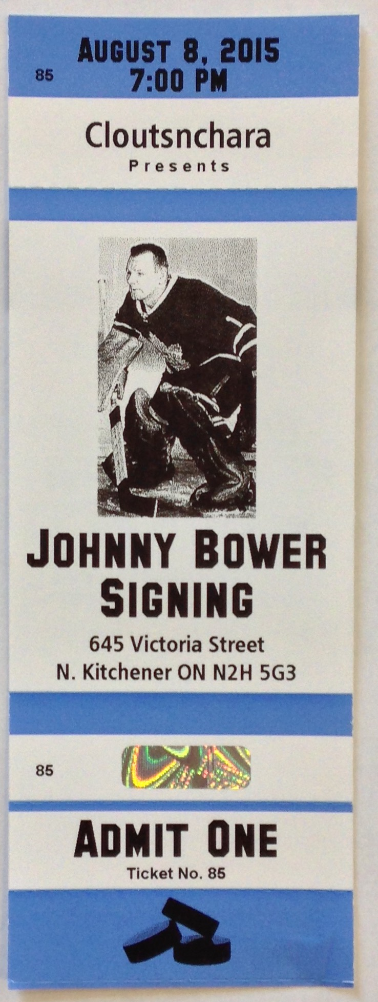 Johnny Bower Autographed 8 x 10 ticket