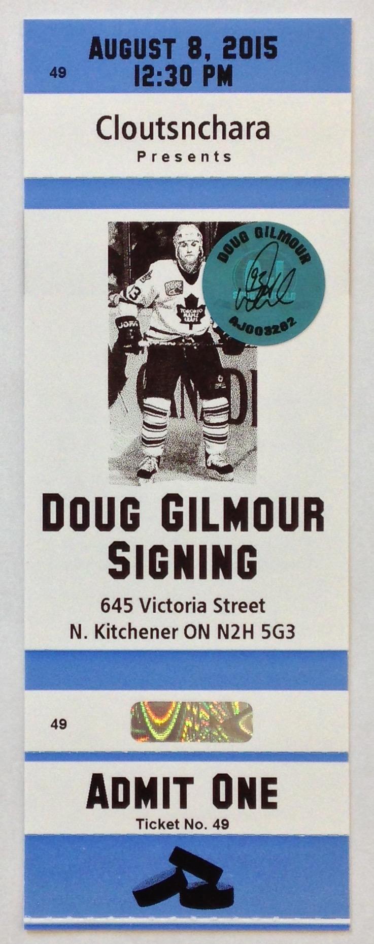 Doug Gilmour Autograph Ticket