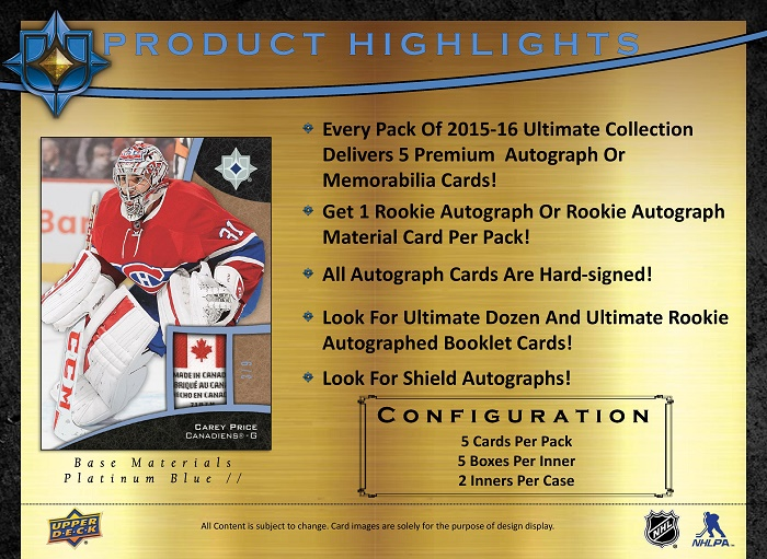 15-16 Upper Deck Ultimate Hockey Product Image Page 2
