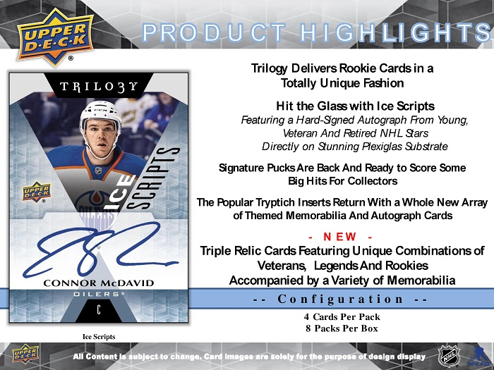 16-17 Upper Deck Trilogy Hockey Product Image Page 2