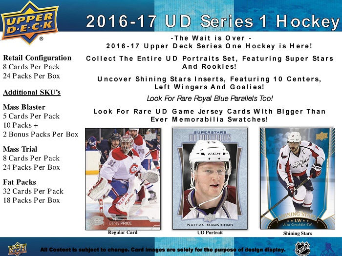 16-17 Upper Deck Series 1 Hockey Product Image Retail Page 1