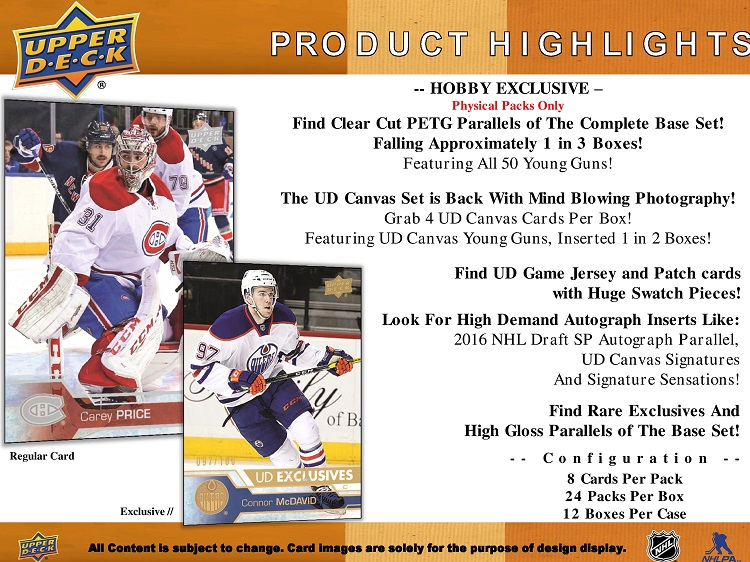 16-17 Upper Deck Series 1 Hockey Product Image Page 2