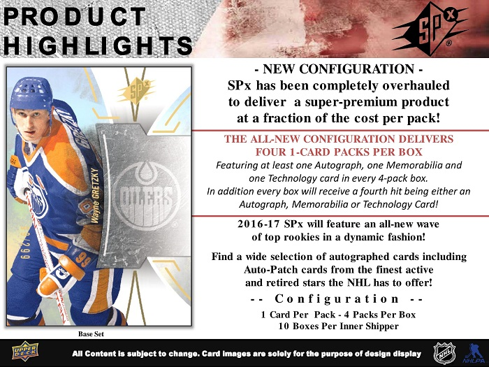 16-17 Upper Deck SPx Hockey Product Image Page 2