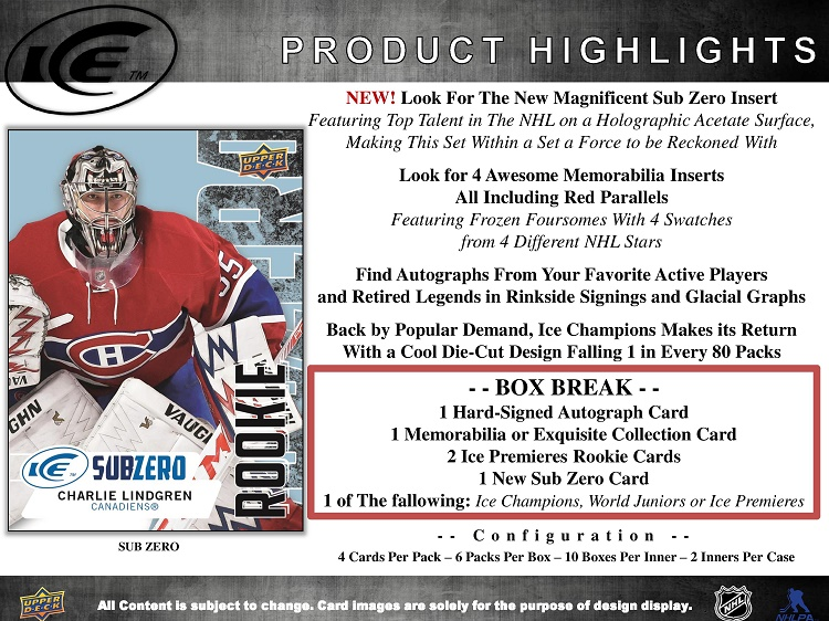 16-17 Upper Deck Ice Hockey Product Image Page 2