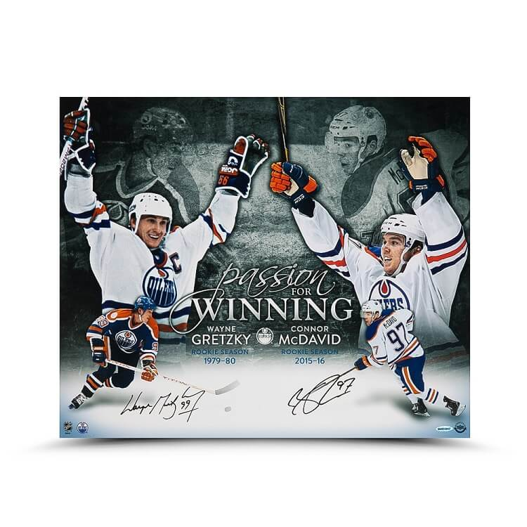 """Wayne Gretzky and Connor McDavid Autographed """"Passion for Winning"""" 20 x 24"""