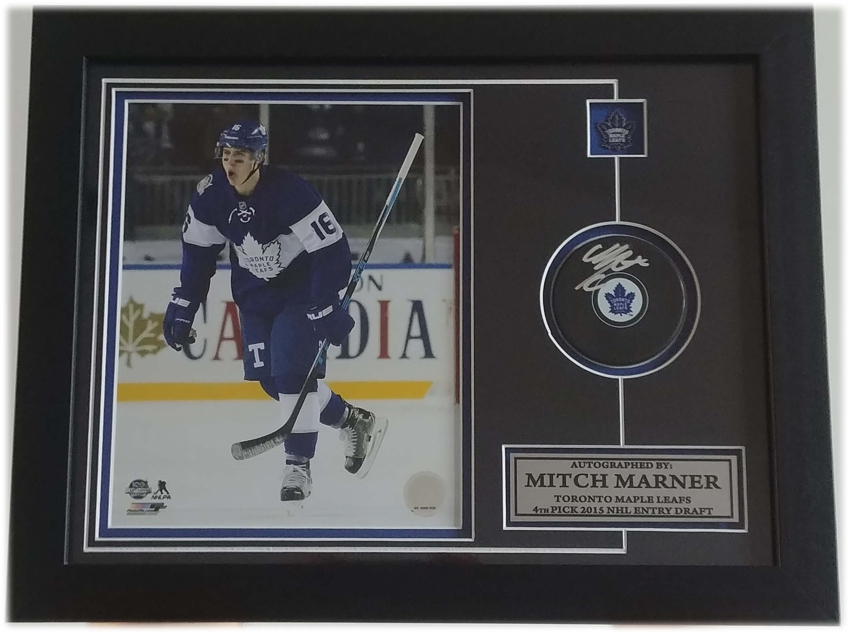 2efbc243d87 Mitch Marner Toronto Maple Leafs Autographed Puck With 8 x 10 Pin & Plate  Frame (Centennial)