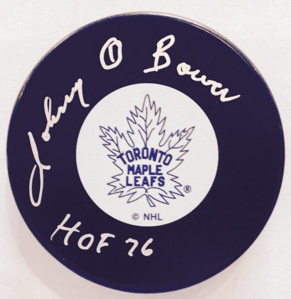 Johnny Bower Toronto Maple Leafs Autographed Puck