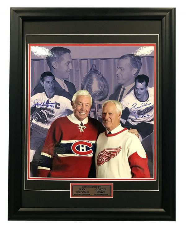 Gordie Howe & Jean Beliveau Dual Signed Original Six Legends 21x25 Frame