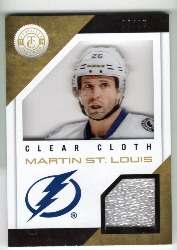 13-14 Panini Totally Certified Clear Cloth Gold Patch Martin St. Louis 8/10 CL-MSL