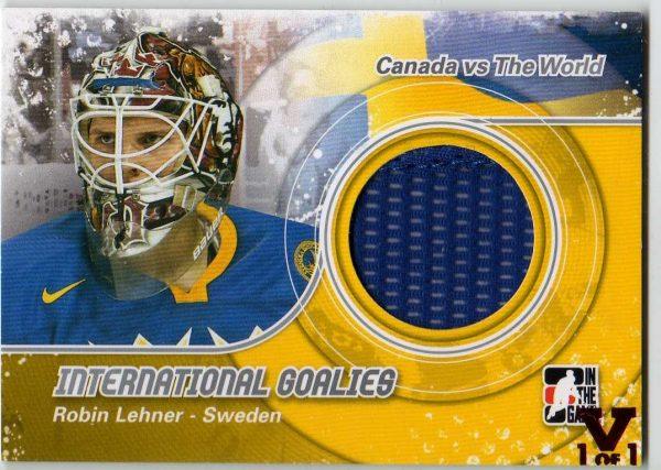 15-16 ITG Vault CVTW International Goalies Jersey Robin Lehner 1/1 IG-02