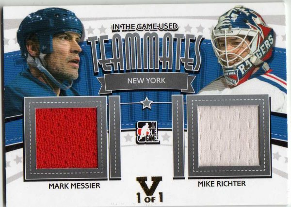 15-16 ITG Vault 13-14 ITG Used Teammates Dual Jersey Mark Messier/Mike Richter 1/1 TM-12