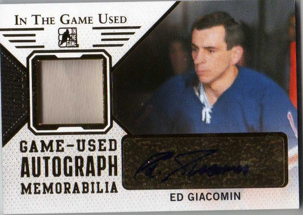 14-15 ITG Used Gold Jersey/Autograph Ed Giacomin 7/15 GUA-EG1