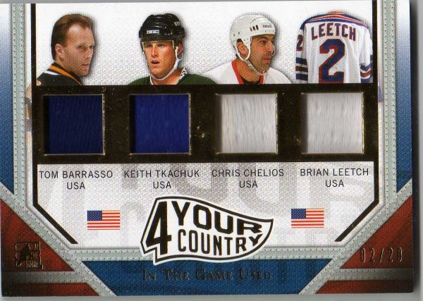 14-15 ITG Used 4 Your Country Quad Jersey Tom Barrasso/Keith Tkachuk/Chris Chelios/Brian Leetch 2/20 4YC-07