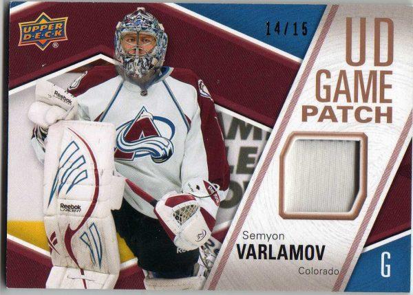 11-12 Upper Deck Series 2 Game Used Patch Semyon Varlamov 14/15 GJ-SV