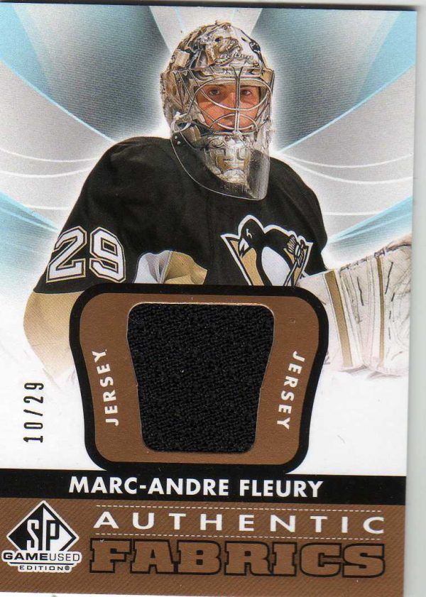 12-13 Upper Deck SP Game Used Authentic Fabrics Gold Jersey Marc-Andre Fleury 10/29 AF-MF