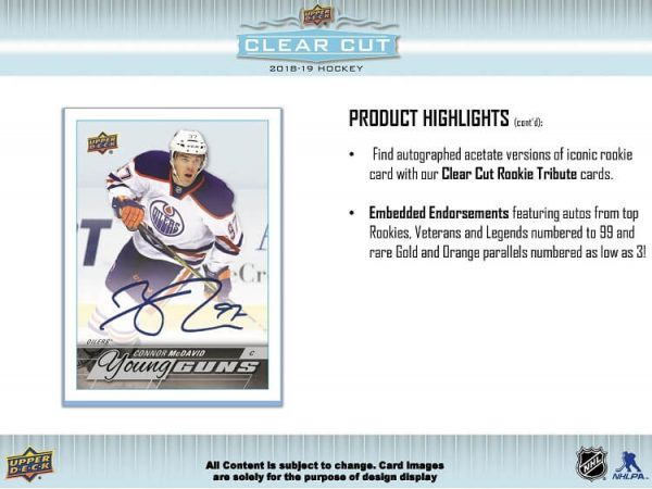 2018-19 Upper Deck Clear Cut Hockey Hobby Box