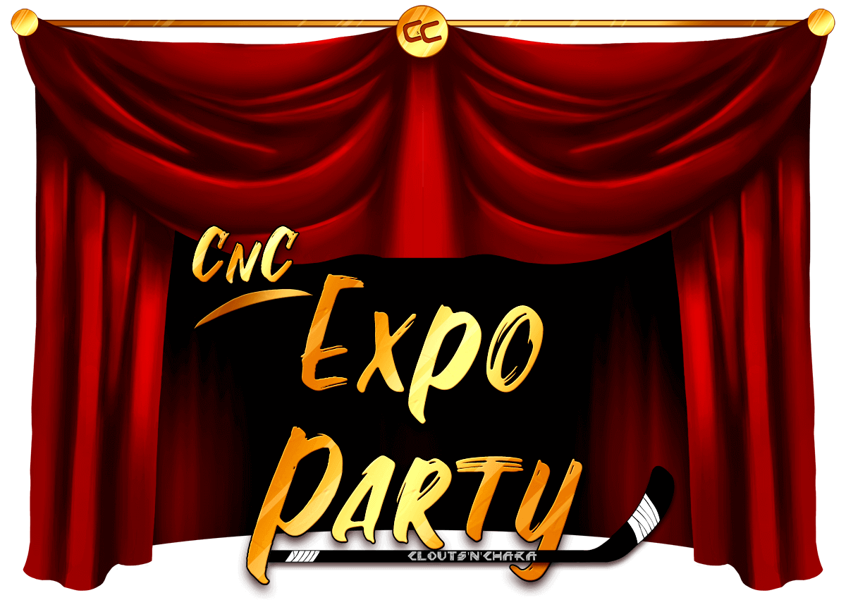 A curtain banner reading 'CnC Expo Party'