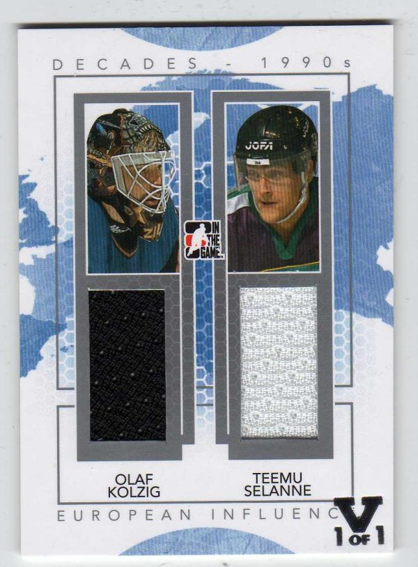 2015-2016 Final Vault 2013-2014 Decades 90's European Influence Dual Jersey Olaf Kolzig Teemu Selanne 1/1