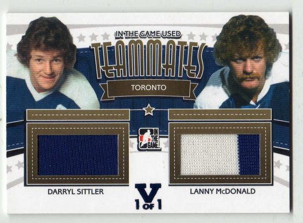 2015-2016 In the Game Final Vault Used Teammates Dual Jersey Darryl Sittler and Lanny McDonald