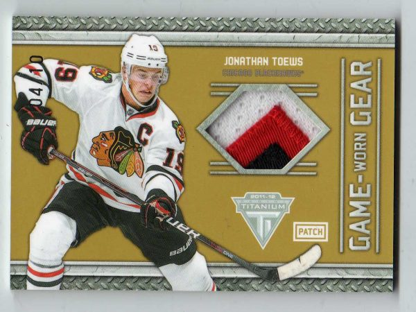 2011-12 Panini Titanium Game Worn Gear Patch Jonathan Toews 4/10 #63