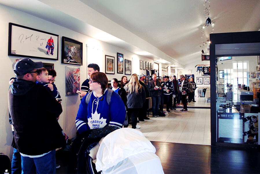 An early line up inside the CloutsnChara store for the Steve Dangle book signing event in April 2019.