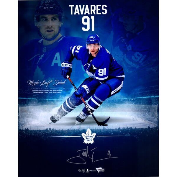 """John Tavares Toronto Maple Leafs Autographed 16"""" x 20"""" Maple Leafs Debut Stylized Photograph - Limited Edition of 91"""