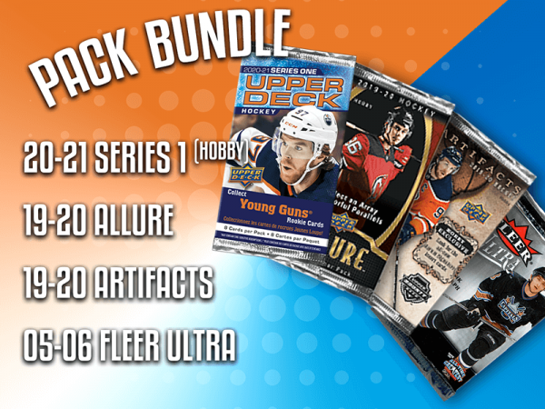 Pack Bundle, contains 1 20-21 Series 1 (Hobby), 1 19-20 Allure, 1 19-20 Artifacts, and 1 05-06 Fleer Ultra