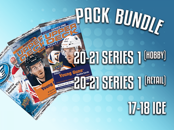 Pack Bundle, contains 1 20-21 Series 1 (Hobby), 1 20-21 Series 1 (Retail), and 1 17-18 Ice