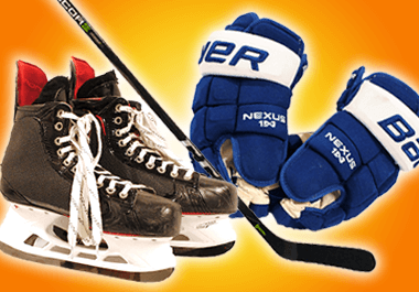Game used skates, sticks, gloves, and more!