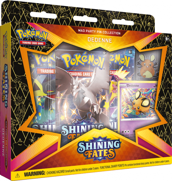 Pokemon Shining Fates Dedenne Mad Party Pin Collection Box