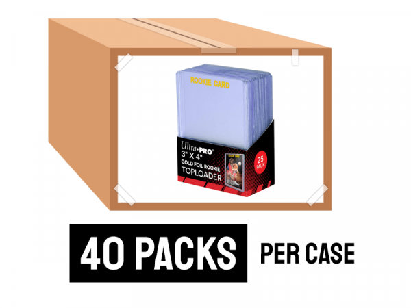 ULTRA PRO 3X4 REGULAR ROOKIE GOLD TOPLOADERS 25 COUNT PACK CASE