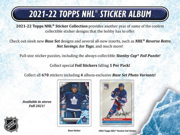 2021-22 Topps NHL Stickers Pack Box (50 Packs)