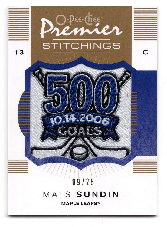 2007-08 Upper Deck O-Pee-Chee Premier Stitchings Mats Sundin 9/25 PS-MS