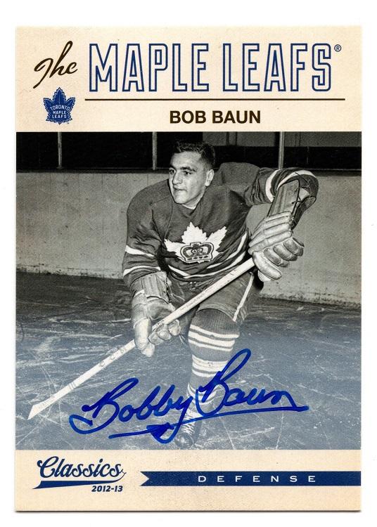 2012-13 Panini Classic Signatures Autograph Bobby Baun #138